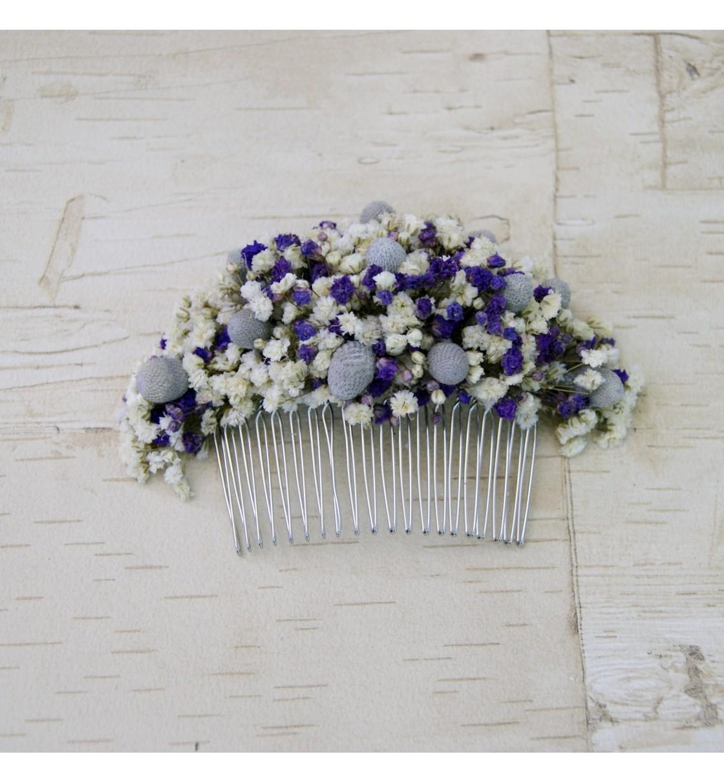 Peineta con flor preservada blanca y lila