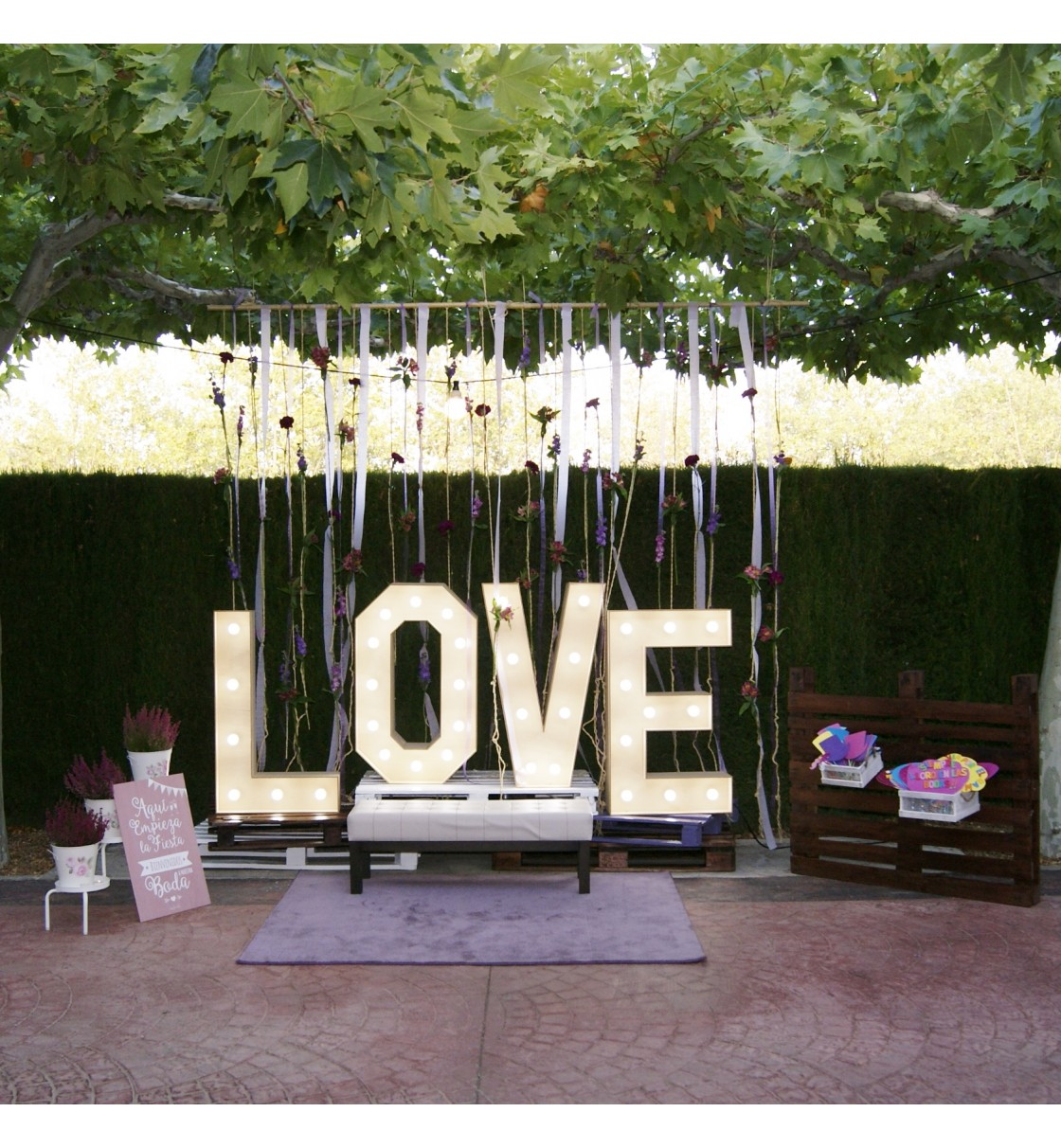 Photocall con letras Love