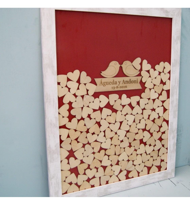 Cuadro de firmas hucha de madera con pajaritos rojo