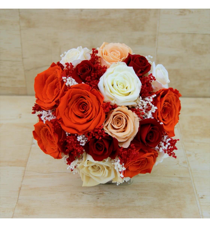 Ramo de novia preservado con rosas rojo naranja salmn y champn