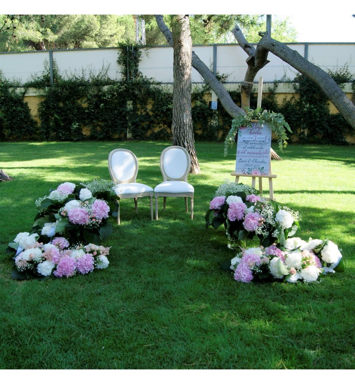 Photocall floral con hortensias