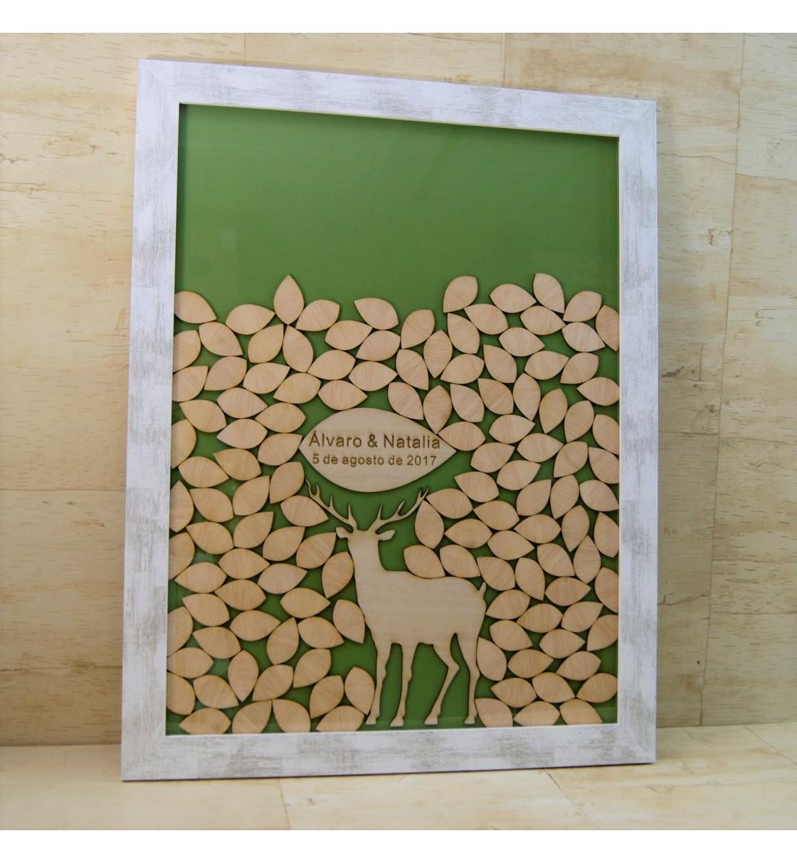 Cuadro de firmas hucha ciervo y hojas
