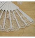 Abanico para novia de encaje de rosas punta ondas