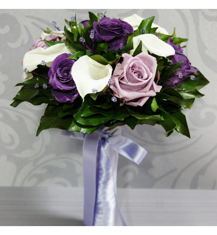 Ramo de novia preservado con calas y rosas moradas