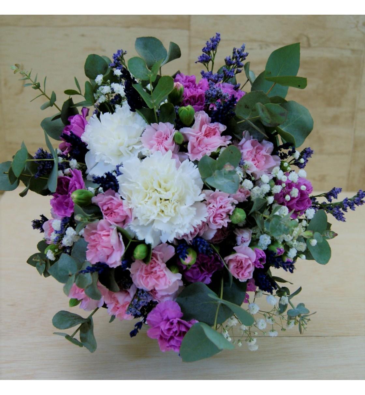 Ramo de novia con clavel blanco y clavellina lila y rosa