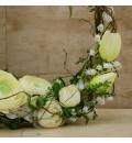 Aro de ramas con flores de tela para niña de arras