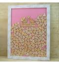 Cuadro de firmas hucha pajaritos color rosa