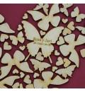 Cuadro de firmas mariposas granate