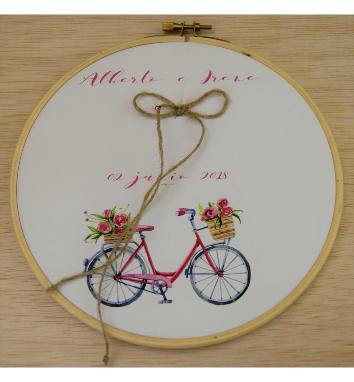 Bastidor para anillos o arras bicicleta rosa