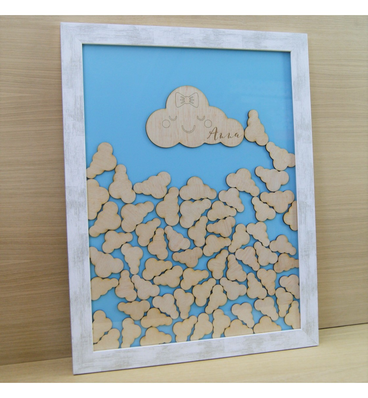Cuadro de firmas hucha nubes azul