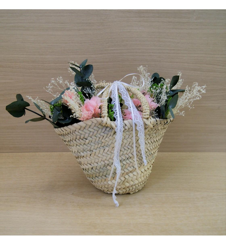 Capazo paniña con flor preservada rosa y champán