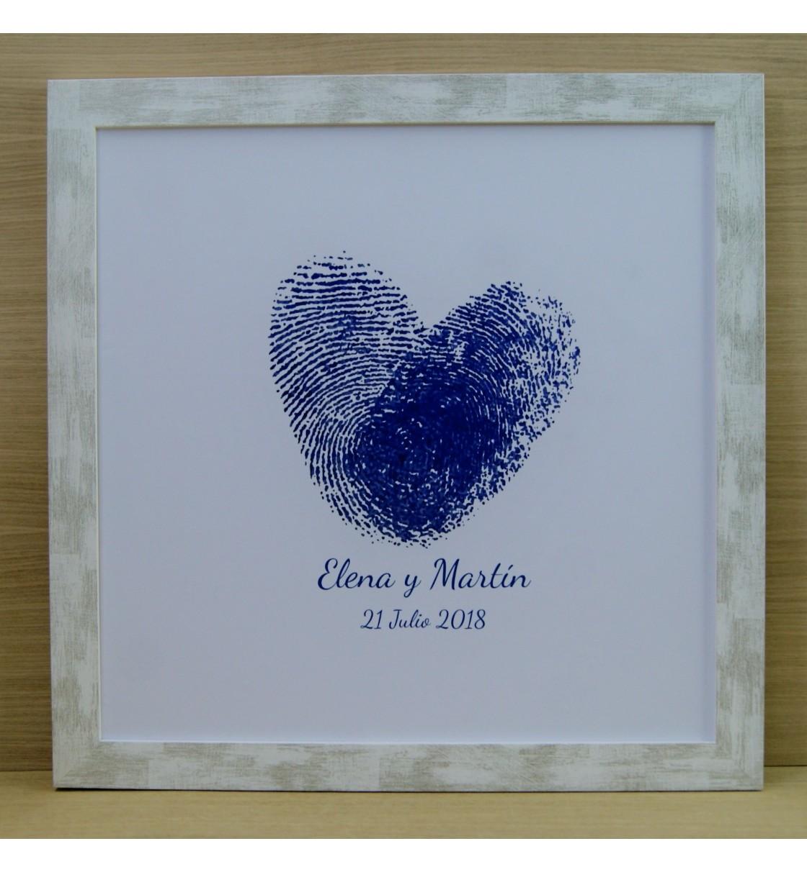 Cuadro de firmas huellas personalizadas corazón