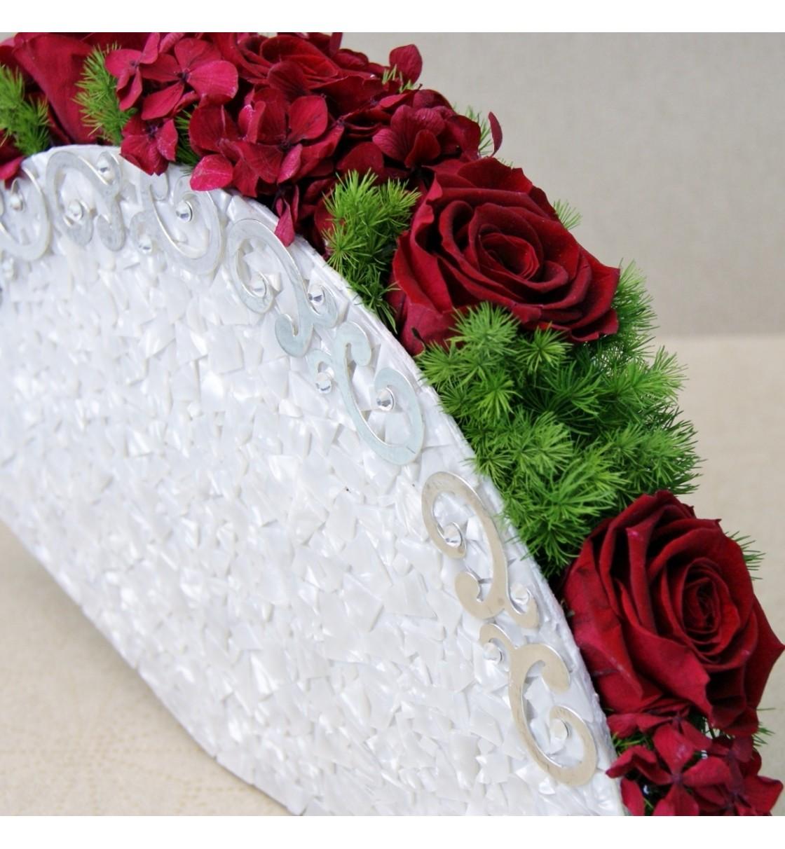 Ramo de novia preservado abanico con nácar