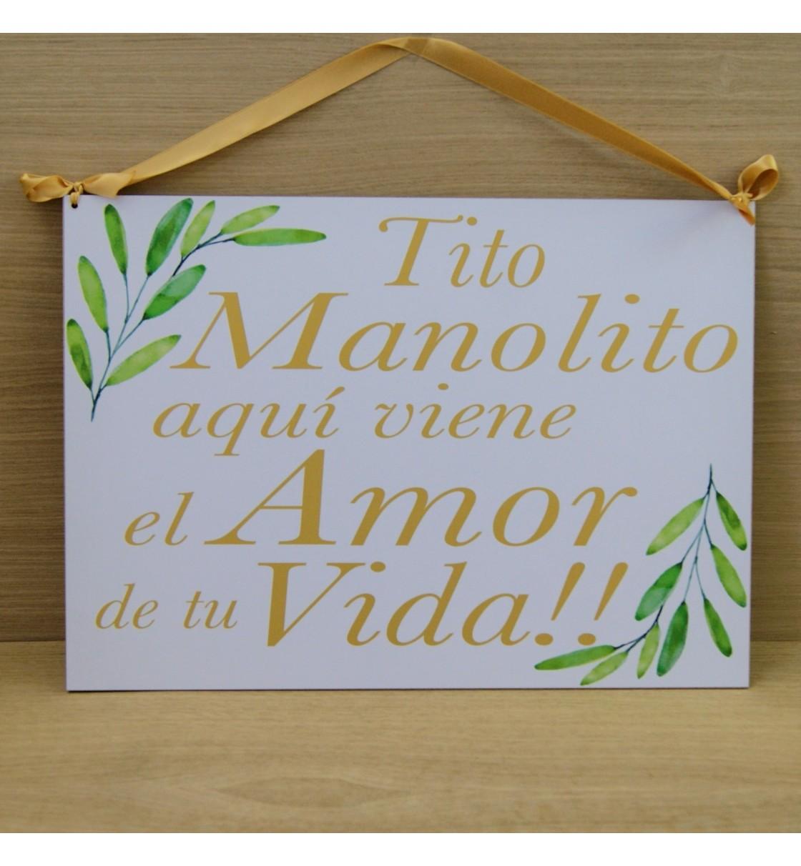Cartel aquí llega el amor de tu vida ramas verdes