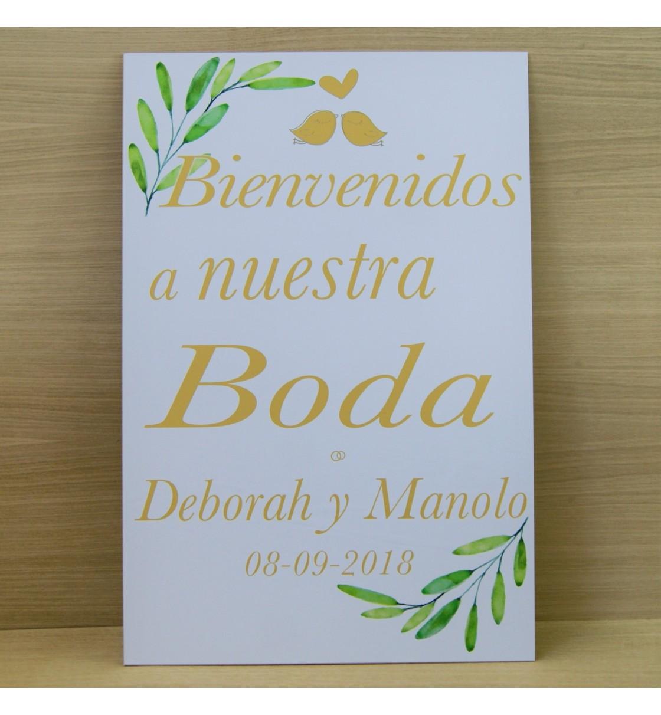 Cartel bienvenida boda olivo y pajaritos