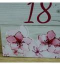 Cartel bienvenida boda madera y flor de cerezo