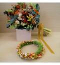 Corona de novia silvestre en tonos naranja, verde, amarillo y rojo