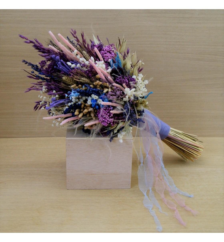 Ramo de novia preservado silvestre tonos lila, azul y rosa