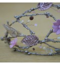 Tocado para novia con flores y hojas de porcelana bronce y malva