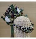 Tocado de novia preservado con lavanda, paniculata y limonium