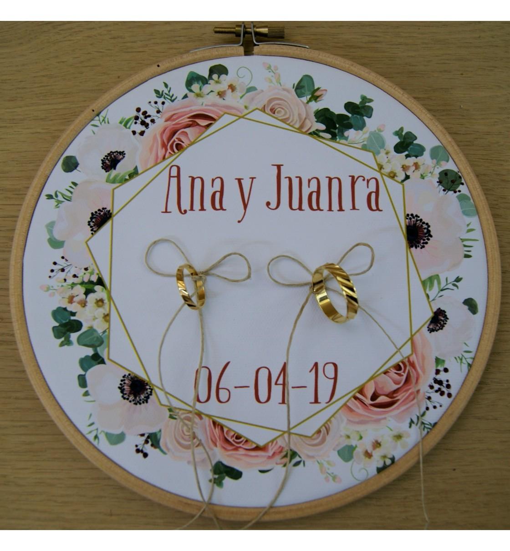 Bastidor para anillos de boda rosas maquillaje