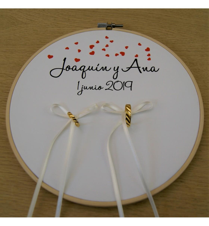 Bastidor para anillos de boda corazones