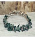 Tocado de novia de metal con cristales salmón y eucalipto preservado