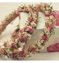 Corona preservada verde, fucsia y rosa
