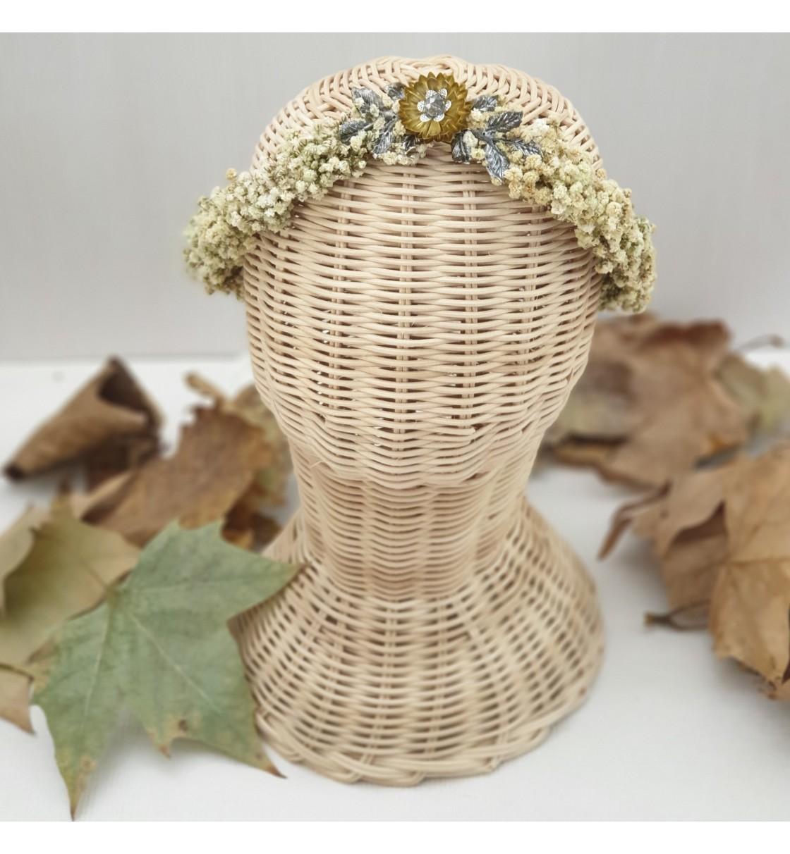Corona comunión paniculata preservada champán y flor de metal
