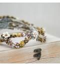 Corona tocado novia flores de metal dorado, porcelana fría y cristales