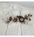 Tocado de novia bronce, perlas y cristales