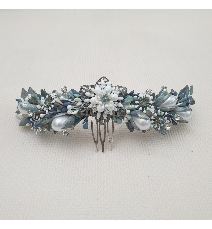 Tocado para novia metal y porcelana fría azul y plata