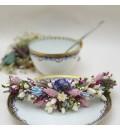 Tocado peineta de novia preservada rosa, lila y celeste