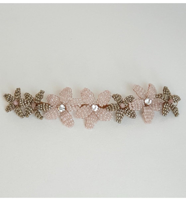 Tocado novia flores cristal rosa y bronce