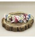 Tocado de novia flor preservada champán, azul y rosa